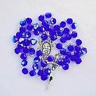Różaniec kryształkowy szafirowy z Matką Bożą Częstochowską