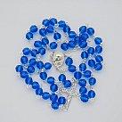Różaniec kryształ ze srebrem niebieski