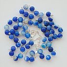 Różaniec srebrny Agat niebieski matowy