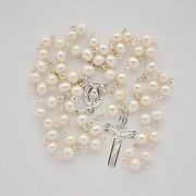 Różaniec srebrny perła