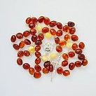 Różaniec srebrny bursztyn dwa kolory koralik płaski