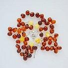Różaniec srebrny bursztyn dwa kolory okrągły koralik