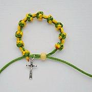 Różaniec 10 bransoletka sznurkowa zielono-żółta