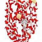 Różaniec sznurkowy biało-czerwony Benedykt