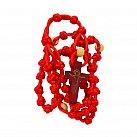 Różaniec sznurkowy duży czerwony koralik