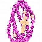 Różaniec sznurkowy fioletowy z koralikiem