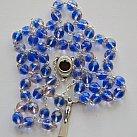 Różaniec z Ziemią Święta, niebiesko-różowy