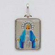Medalik srebrny Matka Boska Niepokalana kolorowa prostokąt