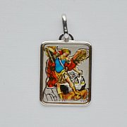 Medalik srebrny św. Michał Archanioł w kolorze