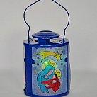 Lampion metalowy na roraty niebieski