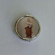 Pudełko na różaniec okrągłe z Matką Boską Szkaplerzną
