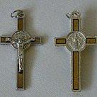 Krzyż św. Benedykta jasny brąz 4 cm