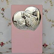 Obrazek srebrny Aniołek z Latarenką różowy