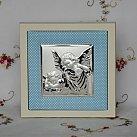 Obrazek srebrny ANIOŁ STRÓŻ niebieska ramka