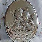 Obrazek srebrny ANIOŁ STRÓŻ Z Dziećmi