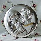 Obrazek srebrny ŚWIĘTA RODZINA okrągła 16cm.