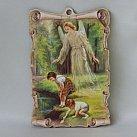 Obrazek na drewnie Anioł Stróż z dziećmi