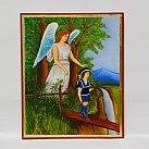 Ikona Anioł Stróż na kładce chłopiec