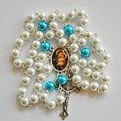 Różaniec z Matką Boską Szkaplerzną biały