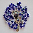 Różaniec kryształkowy granat ze św. Maksymilianem